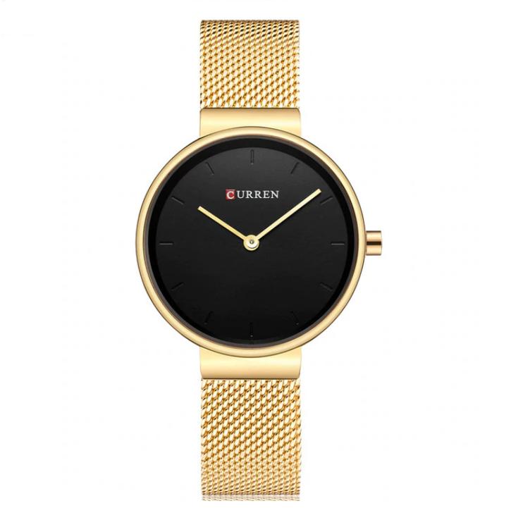 c1ca9d60bb401b Damski zegarek CURREN na złotej bransolecie - czarna tarcza ...