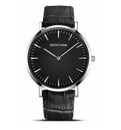 Image of Czarno-srebrny zegarek GeekThink na pasku