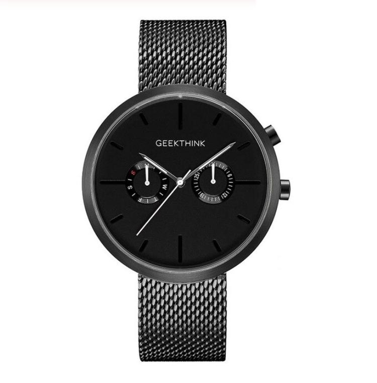 czarny damski zegarek z datownikiem