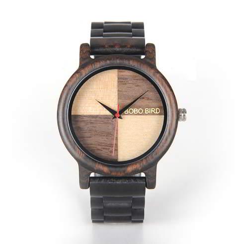 Image of Ciemnobrązowy zegarek drewniany BOBO BIRD na bransolecie EN07